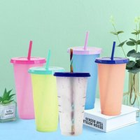 Mugs 700ml 24oz Color PP Temperature Changing Cold Cups Reusable Plastic Tumbler With Lid And Straw Cup Drinkware