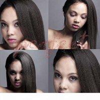 Siyah Kadınlar için Ucuz Yaki Peruk! 100% Bakire Brezilyalı İnsan Saç 150 Yoğunluk İtalyan Yaki Tam Dantel Peruk Tutkalsız Bebek Saç