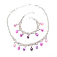 Русалка цвет настоящий жемчужное ожерелье браслет ювелирные изделия набор синий зеленый розовый рис овальный для женщин подарочные серьги
