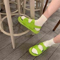 2021 Corea estilo moda playa sandalias femenino roma damas plataforma hebilla zapatos de verano mujer preppy calzado sandalias para mujer wenshet