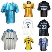 1998 1999 2000 Jersey de football rétro de Marseille 98 99 Pires Maurice Blanc Ravanelli de la Pena Gallas Classic Vintage Shirt de football