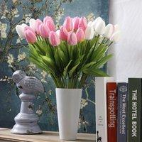 PC tulipano fiore artificiale bianco PU Real Touch per la decorazione della casa Tulipani finti Fiori in lattice Fiori Bouquet Matrimonio Giardino Decor Decorative Wrea