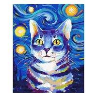 Boyama boya by numbers kiti yetişkinler için tuval çocuklar için tuval, 16 inç x 20 inç (yıldızlı gökyüzü kedi) resimlerinde