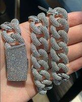 20 мм ледяной здравый пузырь-ссылка кубинское цепочковое ожерелье 14k белое позолоченное покрытие 2 ряда алмазов кубический цирконий ювелирные изделия 16 дюймов-24 дюймов
