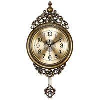 European Style Fashion Wall Clock Silent Luxury Metal Creative Art Digital Pendulum Wandklok Home Decor EB5WC Clocks