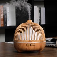 Humidifiers Electric Air Humidifier Wood Grain Essential Oil Diffuser 550ml Remote Control Mist Maker For Home Aroma