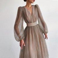 Casual Dresses Elegant Polka Dots Midi Party Dress For Women Autumn Puff Sleeve Lantern V-neck Mesh French Retro Femme Vestido