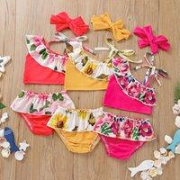 الأطفال قطعتين الملابس الأزهار عباد الشمس الطباعة السباحة الزهور طباعة ملابس الطفل الفتيات كشكش المايوه الصيف أزياء أطفال البيكينيات Z3193