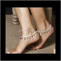 Anklets Filles Stylish Bead Chaîne Crystal Tassel Femmes Chaussure Ankée Bracelet Pied Sandal Barefoot Beach Beach Perles Blanc Beads Elastic 88Y53 1Jyyk