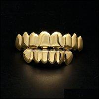 Grillz, Dental Body Jewelrymens Gold Grillz Teeth Set Fashion Hip Hop Jewelry High Quality Eight 8 Top Tooth & Six 6 Bottom Grills Drop Deli