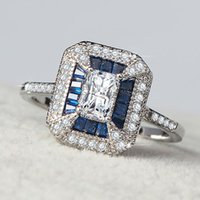 Cluster Rings Fashion Crystal Ring Square Shape Blue Silver Zircon For Ladies Wedding Banquet Cocktail Jewellery Gift Drop