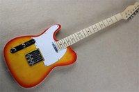 Tienda de encargo zurdo Cereza Red CS Telecaster Guitarra eléctrica Basswood Cuerpo Dot Inlay Tele Maple Fingerboard TL Blanco PickGuard