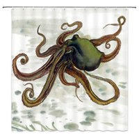 Rideau de douche Octopus, rétro monstre Kraken tentacules Splash Stains Sheeweed Grunge Art Peinture Tissu Tissu Décor, crochets