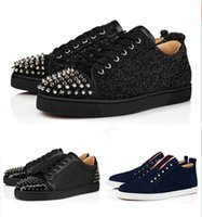 Wholesale fashion luxury Red Bottom Studded Spikes Flats shoes For Men Women glitter Leather Party Lovers Flats casual Sneakers Sports Traine