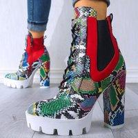 Stiefel Marke High Heels Knöchel Schnürsenkel Mode Plattform Winter Schuhe Frauen Sexy Schlangenhaut Dame Motorräder Bootschuhe
