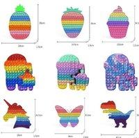 Fidget Toy Push It 30CM Rainbow Pineapple Strawberry Silicone Puzzle Antistress Big Size Kids Adults Bubble Sensory Stress Decompression Toys Its Pops