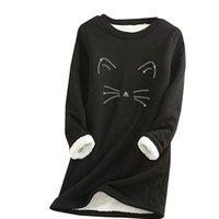 Women Thick Fleece Cat Print Sweatshirt Winter Velvet Warm O-neck Tops Underwear Kawaii Hoodies Ladies Clothes Female Women's & Sweatshirts