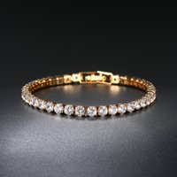 Tennis Bracelets link chains For Women Simple Luxury Round Crystal Gold Color Bangle Chain Wedding Girl Gift Wholesale Jewelry