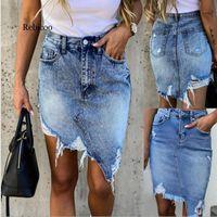 Skirts Summer Scratched Denim Trendy Irregular Ripped High Waist A-line Jeans Skirt Sexy Slim Pack Hips Mini