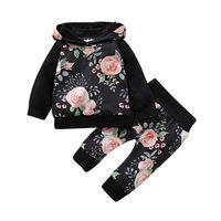 Autumn Baby Girl Boy Sets Long Sleeve Cartoon Floral Print Hoodie Sweatshirt Tops+Pants Trouser Costume Set Clothing