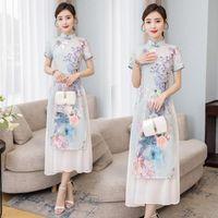 Summer Chinese Cheongsam Young Girl Modified Dress Vintage Floral Printed Elegant Mandarin Collar Female Qipao RV7 Ethnic Clothing