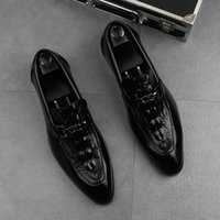 Designer Men new fashion loafers leather shoes Horsebit white Crocodile pattern Breathable Pointed Toes Party Wedding Shoes plus size 38~44