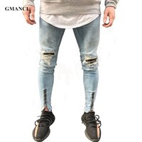 GMANCL Hip Hop Mens Jeans Patch Patch Jeans Distressed Jeans Slim Fit Skinny Leg Rock Strappato Stretch Denim Jogger Pants Plus Size 38