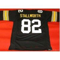Özel Bay Gençlik Kadınlar Vintage Özel # 82 John Stallworth Siyah Futbol Forması Boyut S-5XL veya Özel Herhangi Bir Ad veya Numara Forması