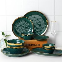 Dishes & Plates Kitchen Tray Decoration Dark Green Ceramic Plate Cutlery Set Dessert Salad Serving And Rice Bowl