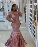 Prom Dresses 2021 With Sleeves Long Mermaid Pink Lace Sweep Train Plus Size Formal Evening Gowns