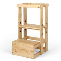 Niños de pie Torre Cocina Ayuda Step Taburete para niños y niños pequeños con taburete de aprendizaje ferroviario de seguridad, construcción de madera maciza (natural)