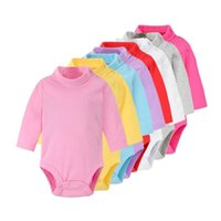 Hooyi Baby Boy Clothes 100% Cotton Pure Solid Newborn Bodysuits Turtleneck Premature Clothing Shirts Tops 0 1 2 3 Years PJS Soft 1928 Z2