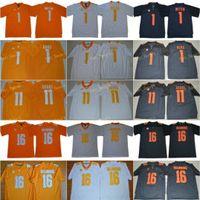 NCAA TENNESSEE Freiwillige 16 Peyton Manning Jersey Männer Jason Witten 1 Jalen Hurd 11 Joshua Dobbs College SEC Männer genäht Orange grau weiß