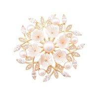 Sinnry Fabrik Preis Luxus Koreanische Schmuck Lust auf Dekorative Naturhülle Süßwasser Perle Blume Anzug Broschen Schmuck Geschenk