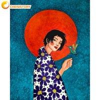 Dipinti Chenistory Capelli lunghi Ragazza Figura figura pittura di numeri kit pitture olio vernici acrilici cnavas home soggiorno wall art immagini fai da te