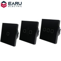 Smart Home Control EU Standard 1 2 3 Gang Way AC100-240V 10A Crystal Glass Panel Screen Wall LED Power Light Touch Switch Push Button