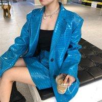 Kore Bahar Sonbahar 2021 Kadınlar Parlak Mavi PU Deri Ceket Artı Boyutu Takım Elbise Uzun Kollu Gevşek Ceket Moda Gelgit PY199 Kadın Faux