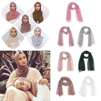 Scarves Fashion Elegant Women Lady Solid Bubble Chiffon Scarf Stretch Muslim Hijabs Head Shawls Turban Hat Headscarf