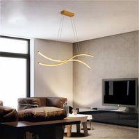 Pendant Lamps Modern Dining Room LED Chandelier Golden Long Crystal Living Table Light Office Kitchen Bar Dimming