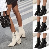 Fashion Women Ankle Bare Boots Side Zip Square Heel High Causal Short Tube Booties s Shoes Dropshipping1