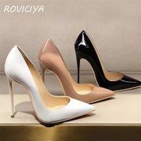 Kadınlar Topuklu Ayakkabı Pompaları Çıplak Sivri Burun Seksi Yüksek Topuk Ayakkabı Stiletto Bayanlar 12 cm 10 cm 8 cm Artı Boyutu QP051 Roviciya 210329