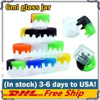 6ml glass container Food Grade Nonstick wax containers silicone lid glass box oil jar oil holder for vaporizer vape dab tool storage DHL