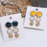 Stud 3Pairs Set Fashion Earrings For Women Geometric Round Enamel Rhinestone Gold Small Earings Korean Jewelry Accesorios Mujer