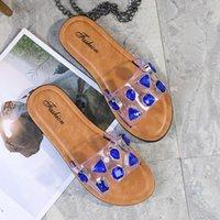 Slippers 2021 Summer Women Rhinestone Pattern Square Toe Flat Ladies Outdoor Beach Sandals Metal Buckle Fashion