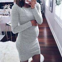 Moda Vestidos de maternidad Sólido Color Elástico Círculo de manga larga Cuello Cuello Mujer Embarazada Ropa Verano Vestidos largos 22LH L2