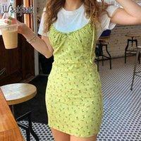 Dresses Waatfaak Chic Green Casual Women Elegant Spaghetti Straps Sun Floral Vintage Bodycon Mini Summer Cami Y2k