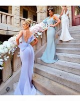 Modest Mermaid Bridesmaid Dresses with Big Bow Sexy Spaghetti Straps Backless Wedding Guest Gowns Lace Appliques Satin Maid of Honor Dress