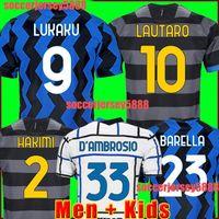 Inter Soccer Jersey 2020 2021 Lukaku Milan Vidal Barella Lautaro Eriksen Alexis Hakimi 20 21 قميص كرة القدم زي الرجال + Kids Kit الثالث 99