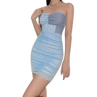 Casual Dresses Xingqing Women's Bodycon Dress Trendy Color Block Spaghetti Strap Sleeveless Mesh Cami Party Women Evening Costume