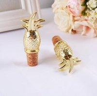 Creative Gold Piña Botella de vino Stopper Favor de la boda Suministros de fiesta de souvenirs para huésped